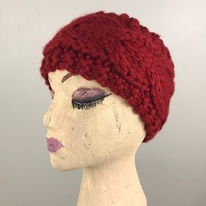 NWOT Lewis Knits Hand Knit Red Cable Ear Warmers